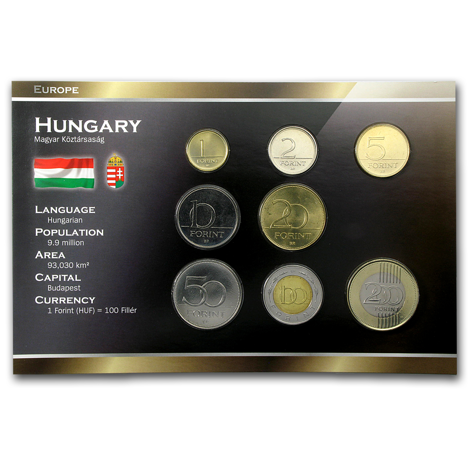 1995-2010 Hungary 1-200 Forint Coin Set BU
